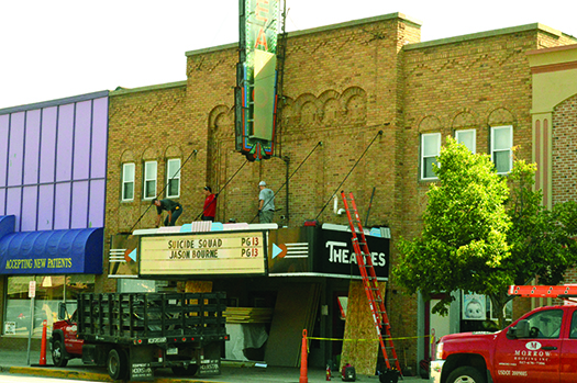 Eaton Theatre marquee receives initial stage of renovations