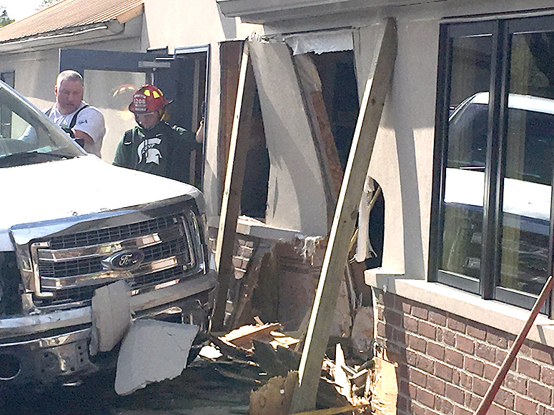 Truck drives through dining room wall at Eaton Rapids Craft Co.