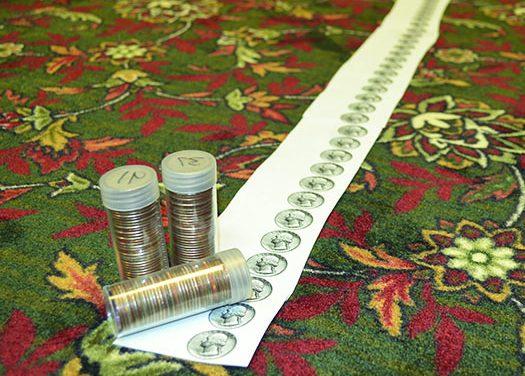 Mile of quarters leads to a Senior Center full of new carpet
