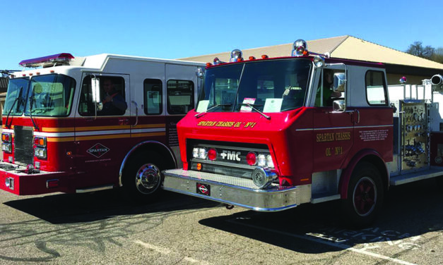 Historic Spartan fire trucks serve as multiple reminders of service